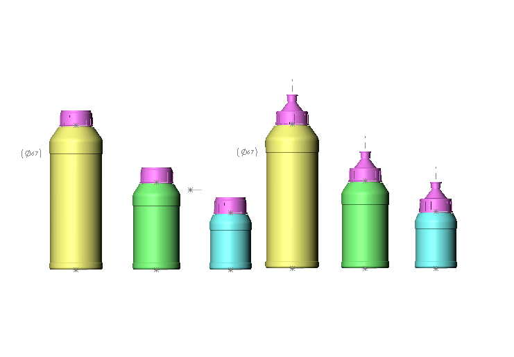 Plastic PE,PP bottles for chemical,cosmetic,food produc