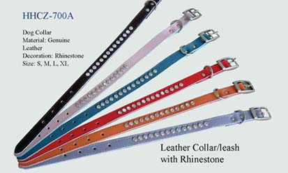 Genuine leather & Rhinestone collar