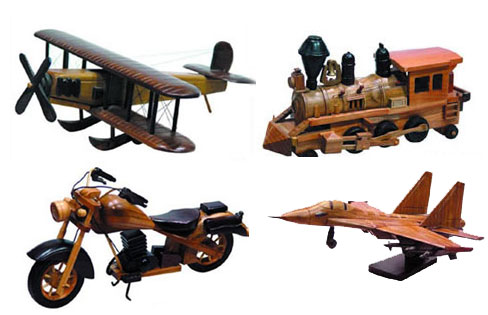 wooden model replicas, wooden cars, planes,