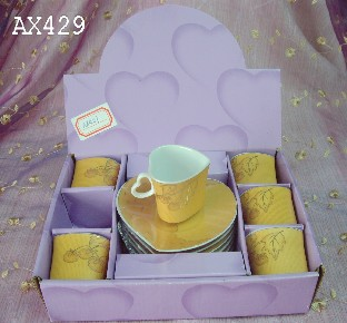 golden decal 6sets coffee set