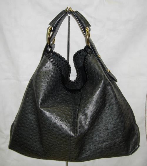 Gucci Guccissima Black Leather Horsebit Hobo
