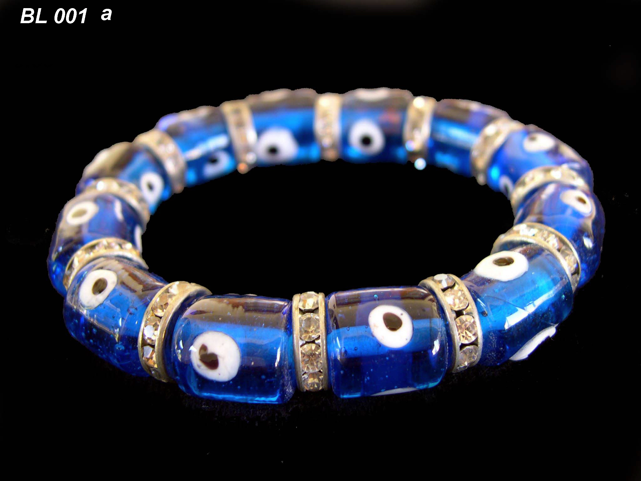 glass evil eye bead crystal bracelet