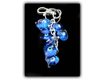 glass evil eye bead key chain