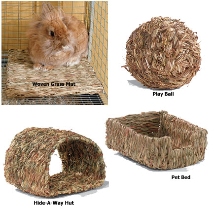 grass nest, bamboo nest, wooden cage, toys,