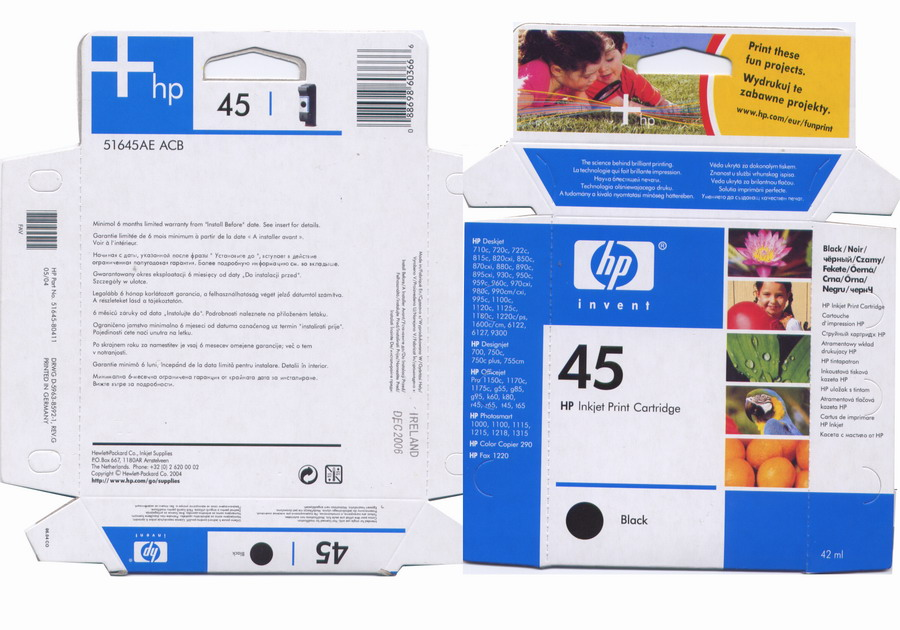 HP ink cartridges and toners(original packing)